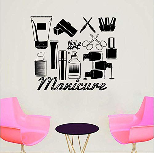 Nail Salon Vinyle Autocollant Mural Outils De Manucure Sticker Mural Art Mural Nail Art Polonais Mur Affiche Ongles Salon Décor 66X57Cm