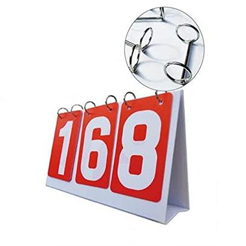 yaunli Marcador de tres dígitos Marcador de cuatro dígitos Tablero de giro Juego de baloncesto Bádminton Score Integrator Flip the digital scoreboard (Color: Rojo, Tamaño: 27 x 16 cm)