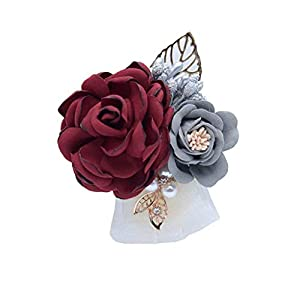 S_SSOY Boutonniere Groom Bridegroom Men's Silk Lapel Brooch Boutonniere Groomsmen Best Man Boutineer Corsage with Gold Leaf Flower for Wedding Prom Homecoming Party