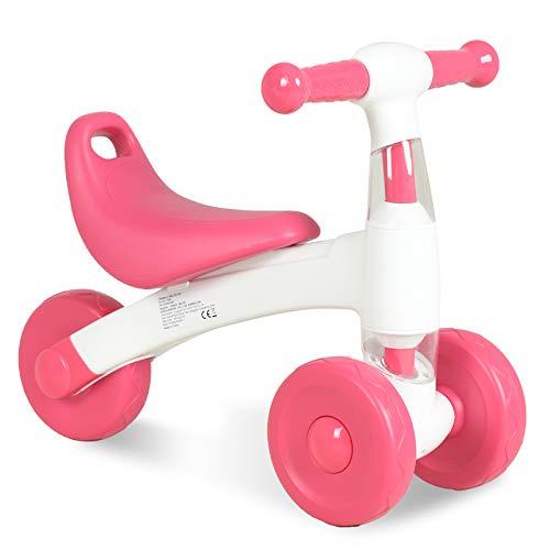 Uenjoy Kinder Laufrad Spielzeug für 10 - 24 Monate Baby, Lauflernrad mit 3 Räder, Erst Rutschrad Fahrrad für Jungen/Mädchen als Geschenke für 1 Jahr Alt, Rosa