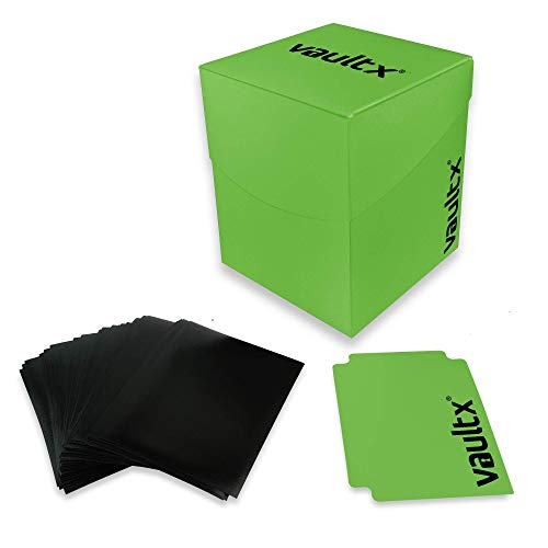 Vault X Sammelkarten Box für 100+ Karten mit 150 Schwarze Kartenhüllen - ohne PVC Deck Box für Spielkarten zum Sammeln und Tauschen (Grün)