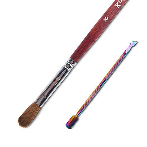 Acrylic Nail Brush and Cuticle Pusher, 100% Kolinsky Hair Nail Art Brush for Acrylic False Nail, Red-Wood Pen, Non-Forked And Non-Clumping Nib, For French Nail.