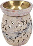 Guru-Shop Lámpara de Aroma India, Difusor de Aceites Esenciales, Portavelas de Té Para Aromaterapia, Lámpara de Aroma de Esteatita - Flor Redonda 3, De Color Beige, 10x8x8 cm, Lámparas de Aceite
