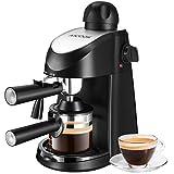 Aicook Macchina Caffe, Macchina Caffe Americano da 4 tazze con Montalatte, Pressione di 8 bar, 240ml, 800 W, nero