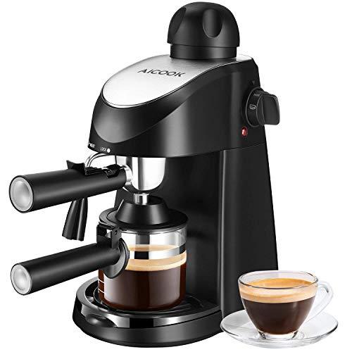 Aicook Macchina Caffe 8 bar, Macchina Caffe Americano, Mini Macchina Caffe con Vaporizzatore per Cappuccino, Latte, Macchiato, Mocha, 4 Tazze 240ml, 800W