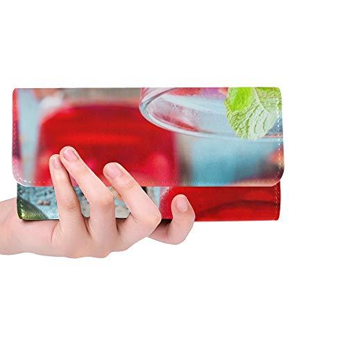 Einzigartige benutzerdefinierte kalte hausgemachte Limonade Granatapfel Mint Lime Frauen Trifold Wallet Lange Geldbörse Kreditkarteninhaber Fall Handtasche