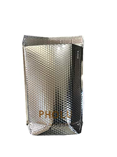 """PHOLU Insulated Thermal Metalized Reusable Lunch Aluminum Food Cooler Grocery Delivery Shipping Box Liners Cold Hot Bags Large 16"""" Length Width x 125"""" Gusset Basse Width 4"""" 5 Pack"""