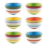 CREOFANT Schalen Set 6 teilig · Müslischalen Set · Schüsseln bunt · Obstschale Suppenschüssel Salatschale Eisschale Ramenbowl · Bunte Schalen · Schüssel aus Keramik · Steinzeug Keramik Schüssel