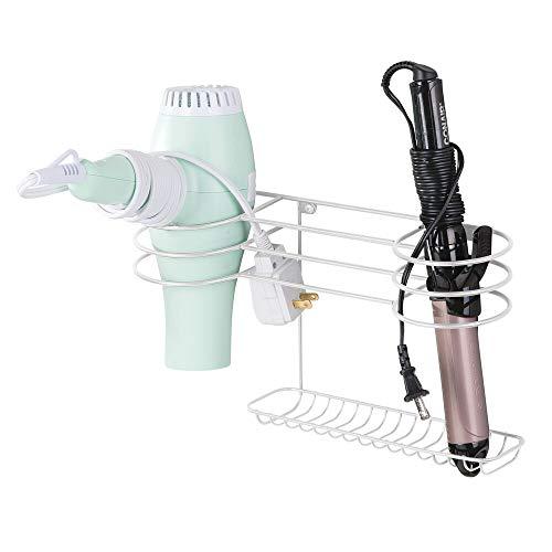 mDesign Soporte para secador de pelo para fijar en la pared – Estante de baño ideal para guardar secador y plancha de pelo – Organizador de pared en metal con varios soportes – blanco