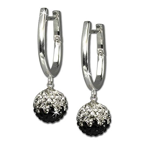 Pendientes de brillantes SilberDream cristales Swarovski blanco y negro Cristales de plata de ley 925 GSO011S