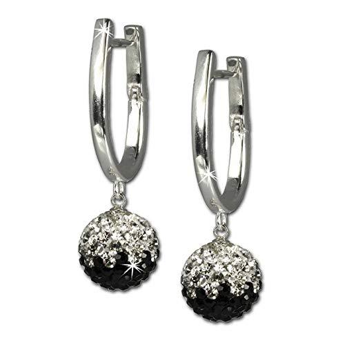 SilberDream Glitzer Creole Swarovski Elements schwarz weiß Kristalle 925er Sterling Silber GSO011S