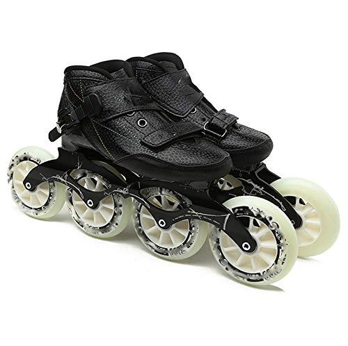 XJBHD Outdoor Sport Pattini in Linea per Adulti Carbonio Rollerblade Professionale Pattini a Rotelle Pattini Comodi Scarpe Speed Skating Ldeali per Principianti per Le Donne e Uomo Black-36