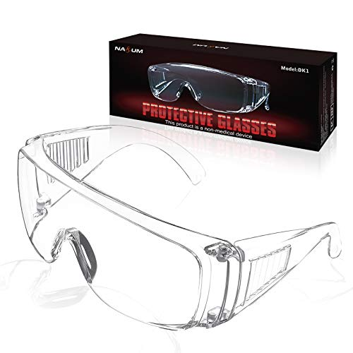 NASUM Plegable Gafas Protectoras, Gafas de Seguridad, Gafas a Prueba de Polvo, para Uso Industrial, Agrícola o de Laboratorio (1 Par) ✅