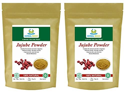 Herbal Magic Polvo de azufaifo orgánico certificado (triturado a mano) indio BER/Date - Piel de digestión de inmunidad con vitamina C hierro calcio (polvo orgánico de azufaifa, 200 g)