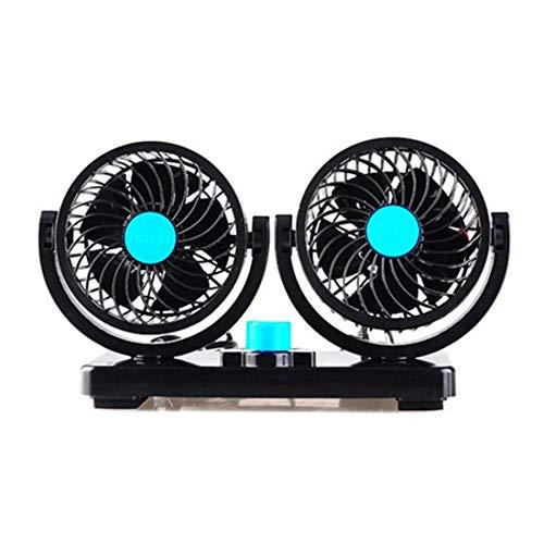 Welkom elektrische ventilator voor in de auto, 12 V, ABS-materiaal, dubbelkop-design met twee snelheden, sterke wind, 360 graden rotatie, zwart, voor desktops thuis, 20,5 x 14 cm