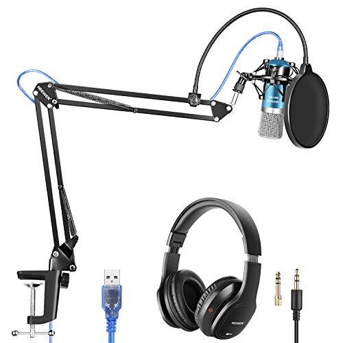 Neewer USB Mikrofon mit Aufhängung Scheren Arm Stativ Shock Mount Monitor Kopfhörer Pop Filter USB Kabel und Klammer Set für Ton Aufnahme für Windows und Mac Blau/Silber