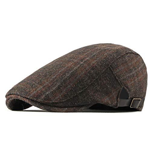 RICHTOER Moda para Hombres Vendedor de periódicos Sombreros Gorra de Golf Casquillo de algodón Plaid Conducción Plana (Orange)
