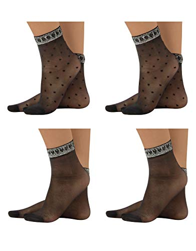 CALZITALY 4 Paar von Schwarze Damen Socken mit Silber Lurex | Pack Glatte Strümpfe mit Herzen & Punkten | Schwarz | Einheitsgröße 35-40 | Made in Italy (Einheitsgröße, Schwarz)