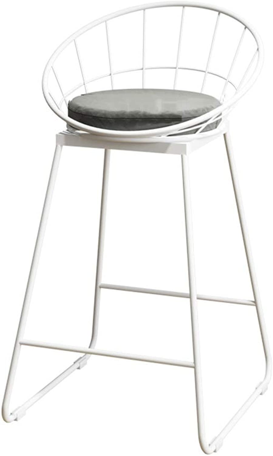 Barstools Chair Bar Stool High Chair Breakfast Chair and Cushion Seat Back Comfort Kitchen Breakfast Counter Greenhouse Bearing 150 Kg White + Grey Mat (Size   42x44x65cm)
