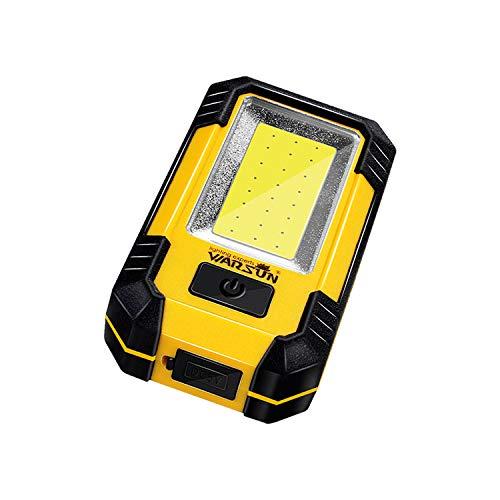 WARSUN Portable LED Rechargeable Work Light,Magnetic Base & Hanging Hook, 30W 1200Lumens Super Bright, 5000K, for Car Repairing, Camping, Hiking, Backpacking, Fishing, Hurricane, Yellow