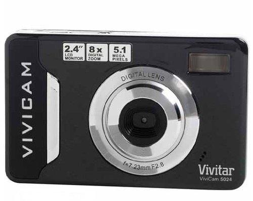 "Vivitar Vivicam 5024 5.1MP Digital Camera, 8x Digital Zoom, 2.4"" Screen, SD Card, Black"