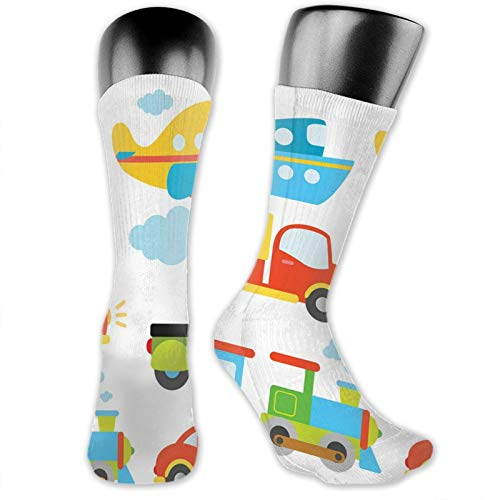 DHNKW Socks Compression Medium Calf Crew Sock,Abstract Transportation Types For Toddlers Car Ship Truck Scooter Train Aeroplane
