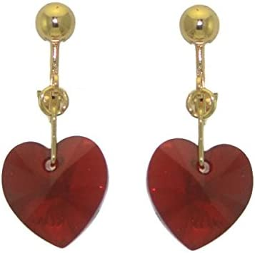 VALENTINE Gold Plated Siam AB Heart Clip On Earrings