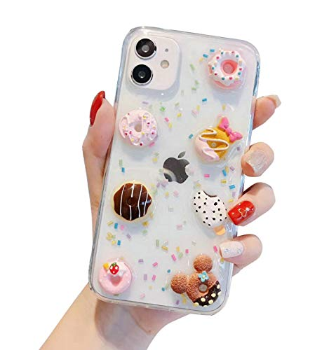 DOMIDO 3D Clear Case Compatible with iPhone 12/12 Pro Cute Cartoon Bears Funny Creative Ice Cream Cake Food Cover Girls Glitter Soft Rubber Case for iPhone 12/12 Pro (Donuts)