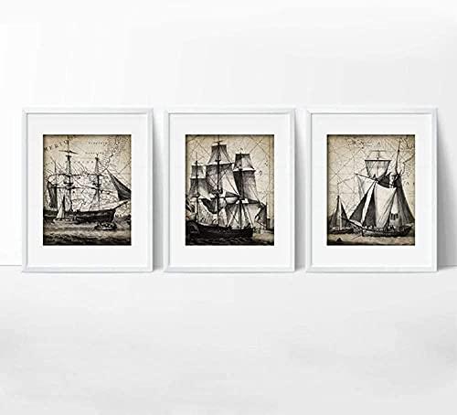 Cykably Velero Vintage Pósters E Impresiones Cuarto de baño Arte de Baño Decoración Navy Nave Arte Náutico Lienzo Pintura Decoración No Marco-60 * 90 cm * 3