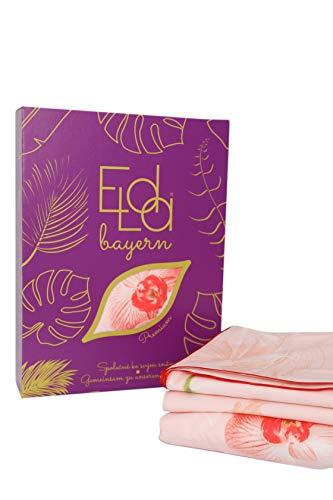 Elda Bayern, juego de cama de lujo de satén mako, 3 piezas, 1 funda nórdica de 155 x 200 cm, 2 fundas de almohada de 80 x 80 cm, fabricado en Alemania, con borde de satén, 100% algodón, Linda
