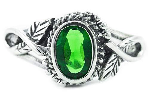WINDALF Zarter Damen Ring LIÂNA h: 0.8 cm Elfenschmuck Grüner Smaragd Hochwertiges Silber (Silber, 56 (17.8))