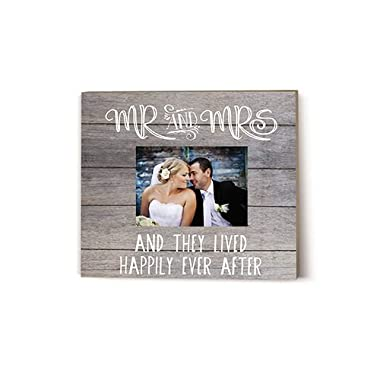 Kindred Hearts 13.6 X11.6  Mr. & Mrs. Gray Slat Picture Frame