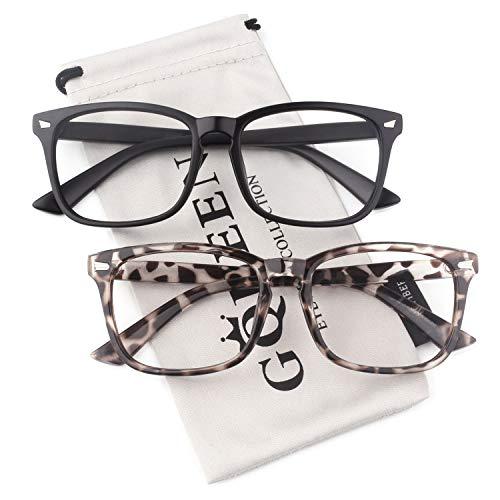GQUEEN Großer Übergroßer Rahmen Hornbrille Klare Gläser Brille PE2 2er Pack