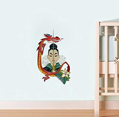 Heldinnen Helden im chinesischen Stil Prinzessin Mushu & Lishang Applique Mulan Wand Vinyl Aufkleber Cartoon Walt Vinyl Poster Home Interior Decor Kinderzimmer Kunst Kindergarten Wand