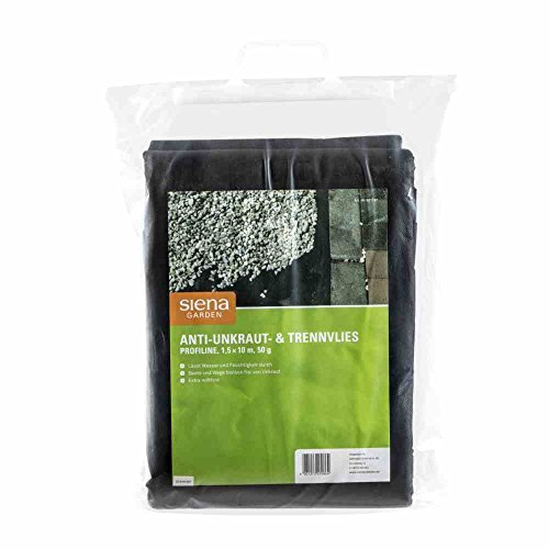 Siena Garden étoile 3070860 Anti-Mauvaises Herbes Tissu de Commande 50 g profiline, 10 MX 1,5 m Noir
