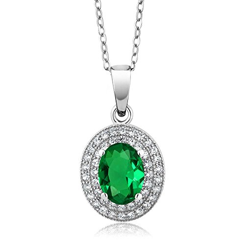 Gem Stone King 3.11Ct Oval 9x7mm Green Nano Emerald 925 Sterling Silver Pendant with 18 inches Chain