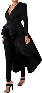 Womens High Low Dress - Fashion Elegant Asymmetrical Irregular Hem Ruffle Peplum Top Tunics Maxi Shirt Dress