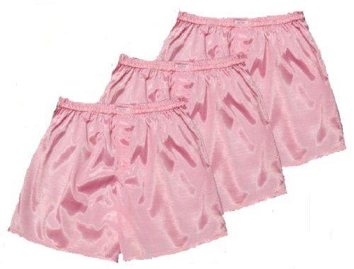 Pink Thai Silk Boxer Shorts Underwear Men Sleepwear Pack of 3 (XL)