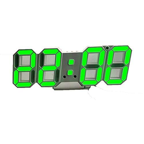 LJJDD 3D LED Reloj de Pared Mod Design Digital Table Reloj Alarma Nightlight Watch para Colocar la decoración de la Sala de Estar (Color : Green A)