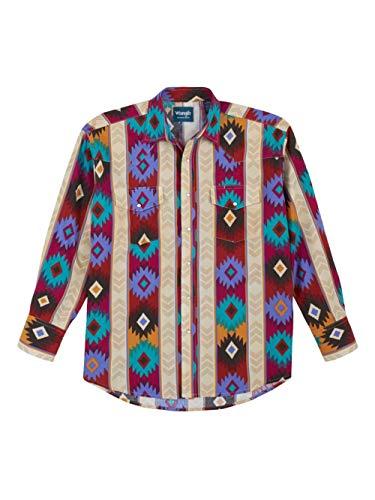 Wrangler Men's Western Checotah Aztec Print Long Sleeve Snap Shirt, Khaki, Medium