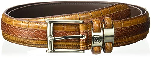 Stacy Adams Men's 35mm Genuine Snakeskin With Leather Embossed Crocodile And Lizard Belt, Cognac, 36