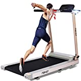 FUNMILY Treadmill, 2.25HP Folding Electric Treadmills with Large Desk and Heavy Duty Steel Frame, 12 preset Programs, Best Walking Running Exercise Machine for Home Gym Office Cardio Use (Golden)