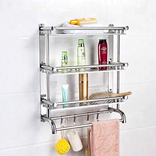 3 Etagen Duschablage edelstahl Duschregal zum Hängend 40 x 15,5 x 56,5cm Duschkorb Badregal Handtuchhalter mit 4 Haken für Badezimmer Shampoo Duschgel