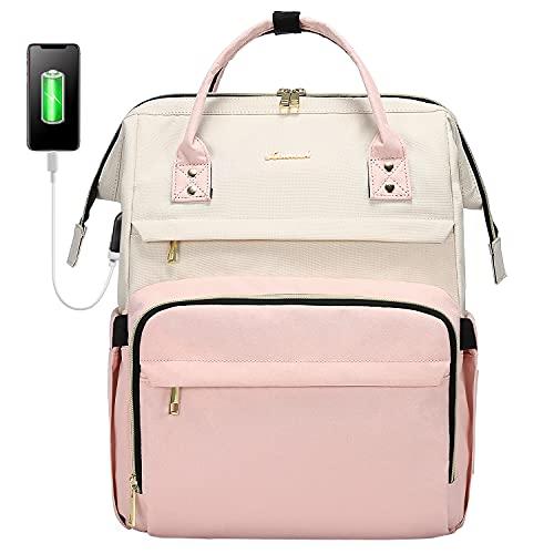 LOVEVOOK - Zaino da donna vintage, con scomparto per computer portatile da 15,6 pollici, elegante, con porta USB di ricarica, per scuola, università, viaggi e regali, colore beige e rosa