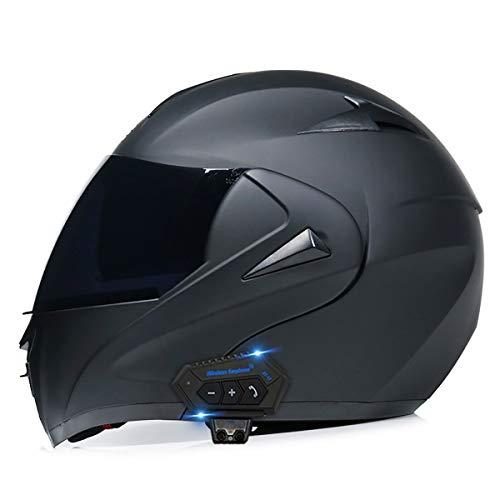 NAINAIWANG Motorcycle Bluetooth Helmets Modular Flip up Dual Visors Full Face Helmet Moped Crash DOT/ECE Approved Helmet Built-in Mp3 FM Radio Integrated Intercom Communication System