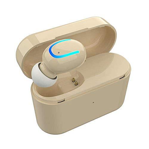 Yimiky Kabelloser Ohrhörer, Bluetooth Ohrhörer In-Ear Kabelloser Ohrhörer Stereo Bass Geräuschunterdrückung Mini Kabelloser Bluetooth Ohrhörer mit Mikrofon und Ladekiste zum Laufen - Hellbraun