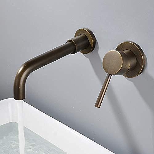 Grifos Grifo Grifo Grifo Retro Cobre En la pared Encubierto Antiguo Grifo de agua fría y caliente Lavabo prefabricado europeo Lavabo de 360 ° Grifo giratorio