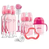 Dr. Brown's Options+ Baby Bottles Pink Gift Set with Silicone Teether, Pink Sippy Cup, Pink Bottle Brush and...