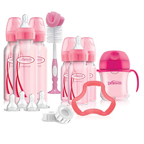 %20 OFF! Dr. Brown's Options+ Baby Bottles Pink Gift Set with Silicone Teether, Pink Sippy Cup, Pink...