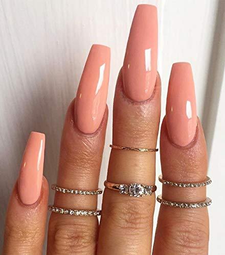 Brishow Sarg Künstliche Nägel Orange lange Falsche Nägel Einfarbig Gefälschte Nägel Ballerina Acryl Falsche Nagelspitzen 24Pcs für Frauen und Mädchen